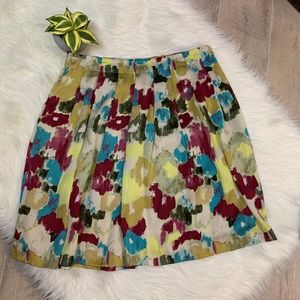 Relativity Floral Print Flowing Pleated Skirt